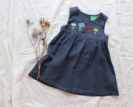 100%オーガニックコットン ブルーム刺繍ドレス