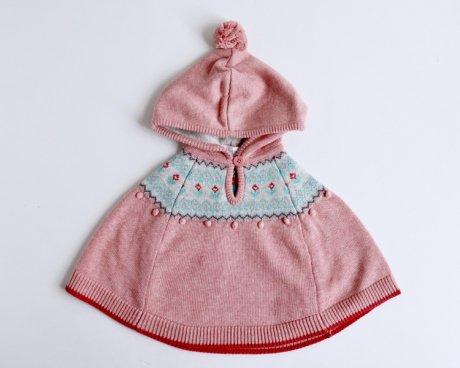 エンジェルディア フード付きポンチョ ニットポンチョ pink