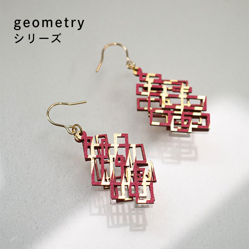 金箔/紙の耳飾り<br>『geometry』