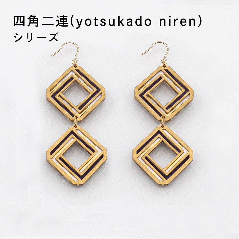 金箔/紙の耳飾り<br>『四角二連(yotsukado niren)』