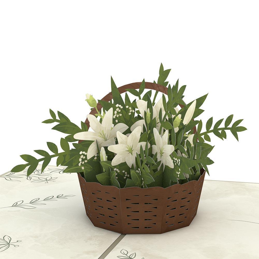 White Flower Basket 3D card<br>白い花のバスケット