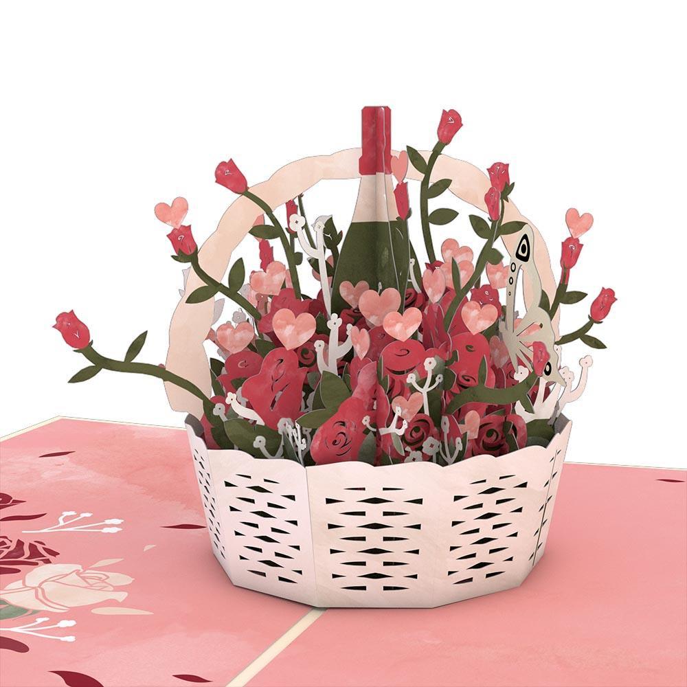 Basket Classic 3D card<br>薔薇とワインのバスケット