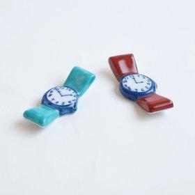 時計|箸置|緑/赤