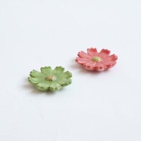 薄濃花釉|箸置|緑/赤
