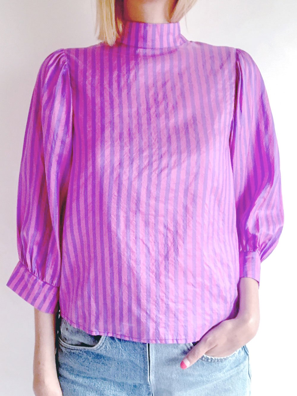 High Necked Tops / pink × purple サムネイル