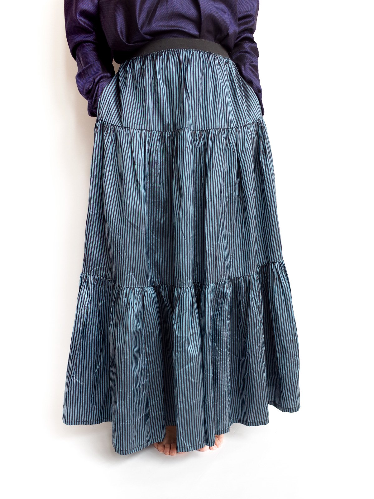 Tiered Skirt / blue× black サムネイル