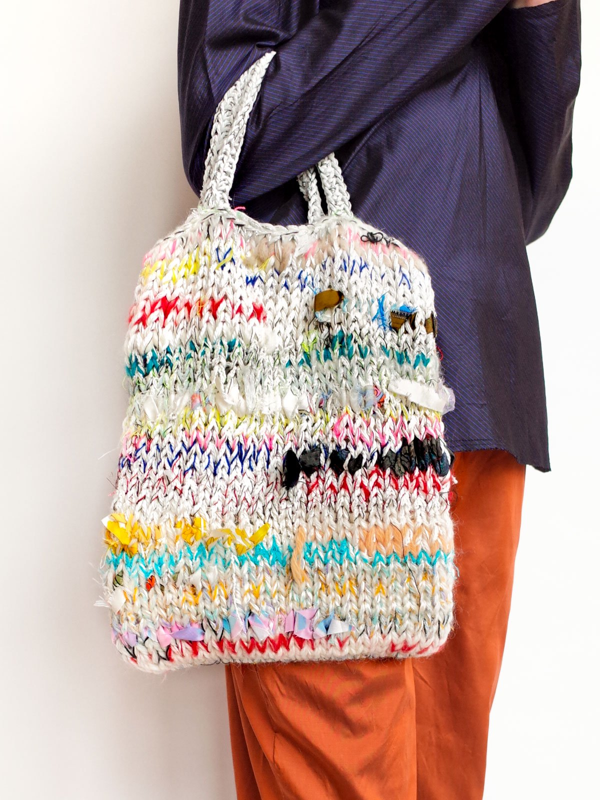 ari × mamarobot / Knit Bag / white