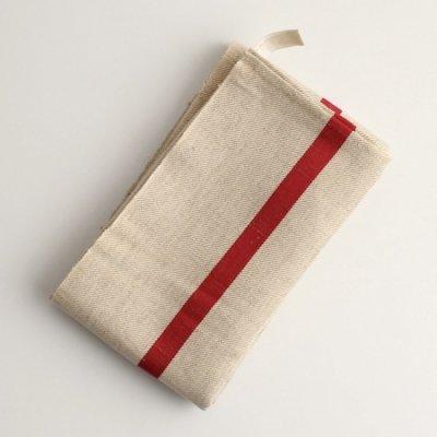 厚手赤い太ラインのリネントーション/Antique Linen