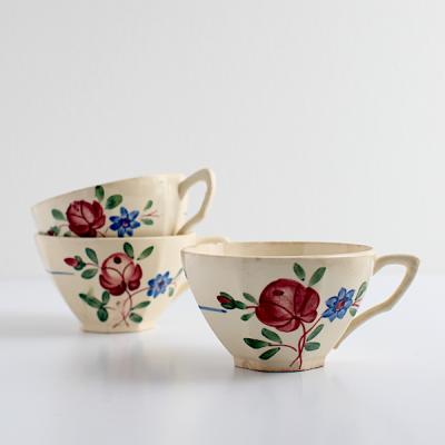 赤いお花のカップ/Digoin et Sarreguemines