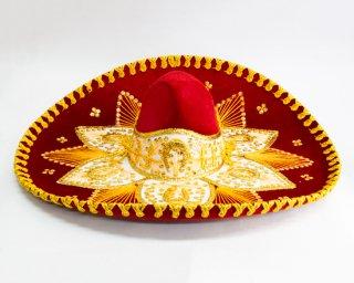 メキシコ製高級ソンブレロ(赤金)