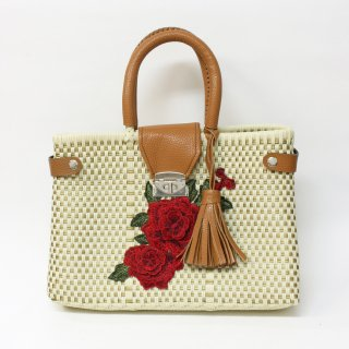 LLサイズ  メルカドバッグ(お花の刺繍)