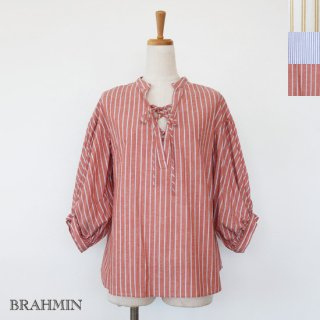 <img class='new_mark_img1' src='https://img.shop-pro.jp/img/new/icons20.gif' style='border:none;display:inline;margin:0px;padding:0px;width:auto;' />SALE [30%OFF] BRAHMIN (ブラーミン) リネン ストライプ レースアップ ブラウス ボリュームスリーブ 返品不可