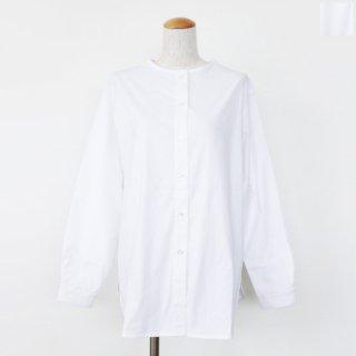 mao made (マオメイド) ブラウス ノーカラー 長袖 バックタック コットン ストレッチ 141304 ◇