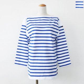 Le minor (ルミノア) ボーダー カットソー 長袖 バスクシャツ ボートネック ラッセル編み MARINIERE MARINE NAT LEF995027