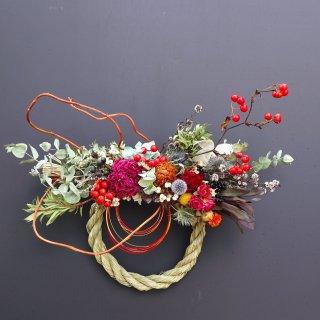 【お正月飾り】縄が外れるしめ縄リース(円形)