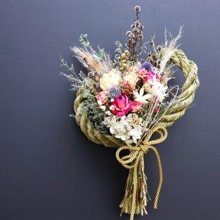 【お正月飾り】縄が外れるしめ縄スワッグ(色とりどりの花束)