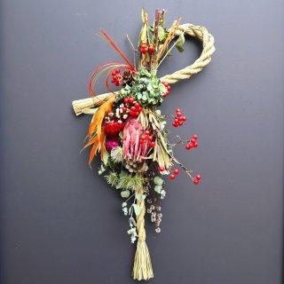 【お正月飾り】縄が外れるしめ縄スワッグ(色とりどりの花束とプロテア・ヴィーナス)