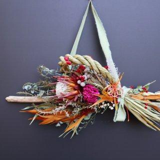 【お正月飾り】縄が外れる流木のしめ縄スワッグ(キングプロテア)