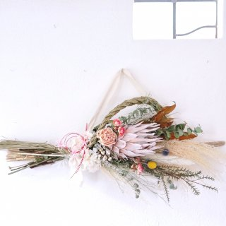 【お正月飾り】縄が外れる流木のしめ縄スワッグ(キングプロテア・ホワイト)