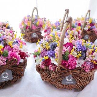 【母の日】ドライフラワーの花かご 小