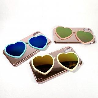 【iPhone X/XS】ハートミラーサングラス付ハードケース【Lucy】