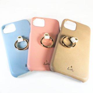【iPhone 11 Pro】 リング付PUレザーシェルケース「SHELL RING Katie」