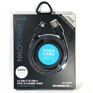 【Type-C】  USB A to Type-C(USB 2.0) Charge Cable 「NYLOTOUGH」 1.5m