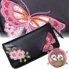 SLWL-503  桜と蝶々刺繍レザーウォレット