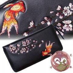 SLWL-502  桜と金魚刺繍レザーウォレット