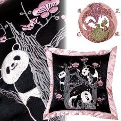 ESC-001 梅とパンダ刺繍クッション