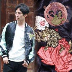 SSJ-703 桜に平安猫刺繍スカジャン