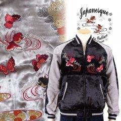 3RSJ-701 菊と蝶と金魚刺繍スカジャン