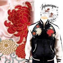 3RSJ-703 菊と唐草刺繍スカジャン