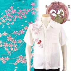 SS-002  桜と金魚刺繍ジャガードシャツ