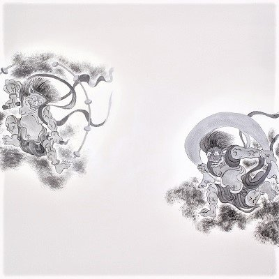 風神雷神図 手描(68cm)グレー