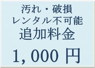 汚れ・破損 レンタル不可能 追加料金 1,000円