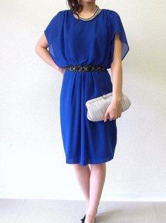 シフォンベルト付きドレス(ブルー)【DR0090】
