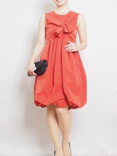 タフタ胸リボンドレス(オレンジ)【DR0159】