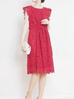 ケミカルレースドレス(赤)【DR0231】