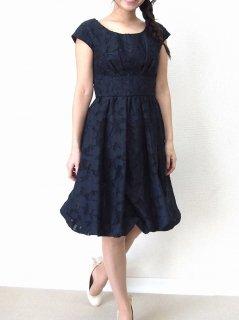 オーガンジージャガードドレス(ネイビー)【DR0233】