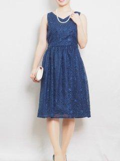 オーガンジーレースリボン付きドレス(ブルー)【DR0241】