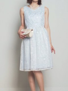 オーガンジーレースリボン付きドレス(サックス)【DR0242】