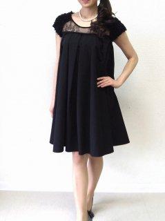 コットンタフタデコルテレースドレス(ブラック)【DR0243】