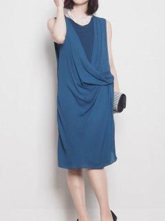 変形ドレープタイトドレス(ブルー)【DR0254】