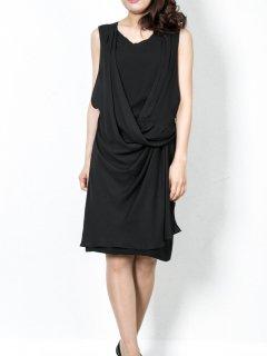 変形ドレープタイトドレス(ブラック)【DR0258】