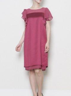シフォン×サテンラッフル袖ドレス(ボルドー)*【DR0296】