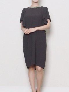 ラッフルフリル袖ドレス(グレー)【DR0299】