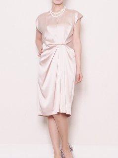 サテンアシンメトリードレープドレス(ピンク)*【DR0301】