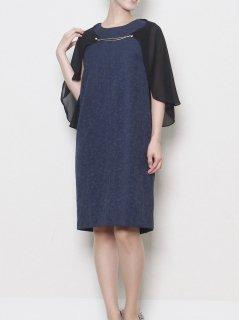 ジャガード2WAY袖ドレス(ネイビー)【DR0309】