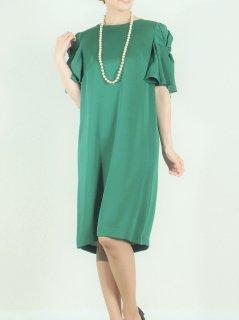 光沢サテンフリル袖ドレス(グリーン)*【DR0332】